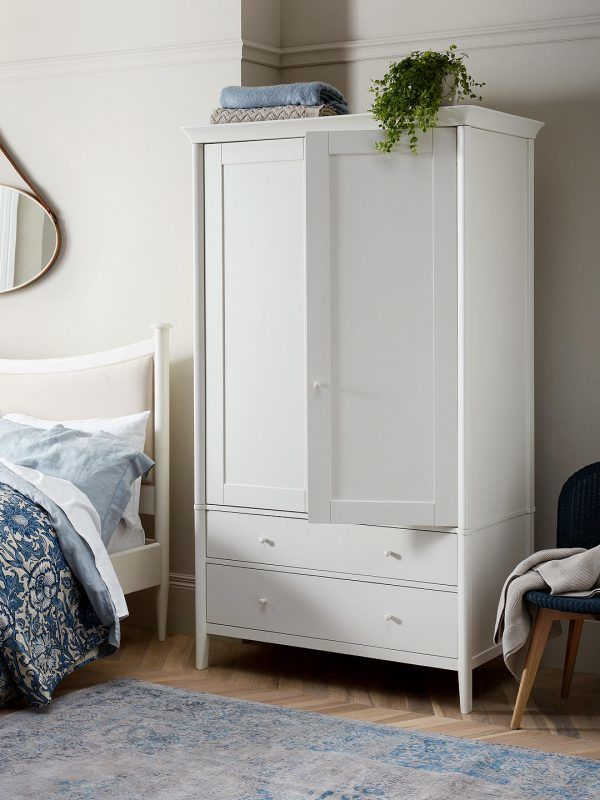 White painted wardrobe with 2 drawers