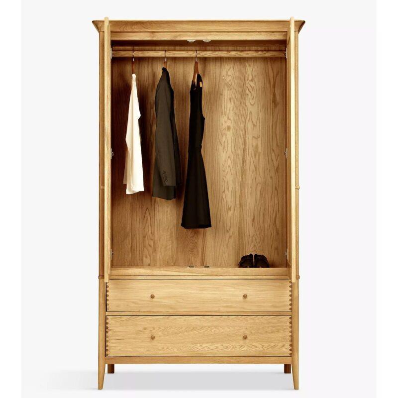 2 door oak wardrobe with 2 drawers