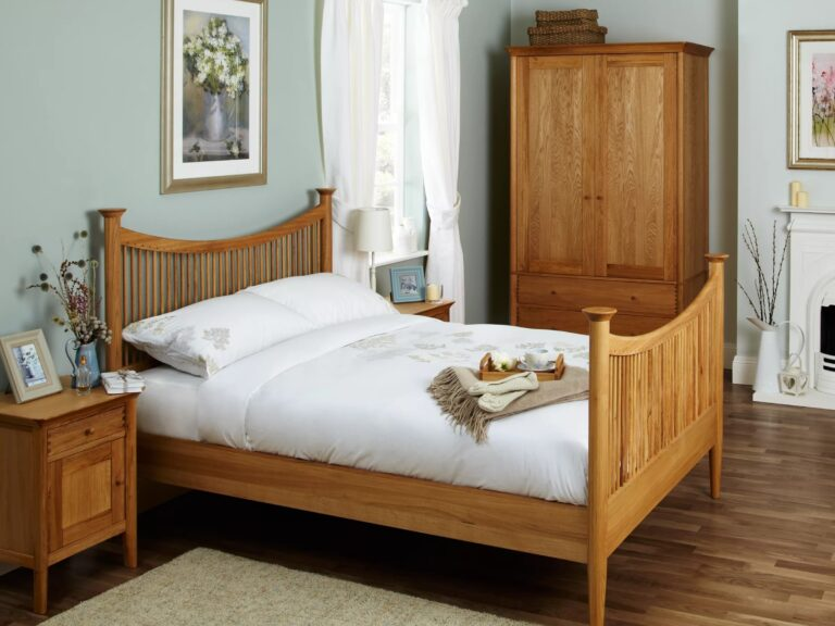 Oak bed, wardrobe and bedside cabinet
