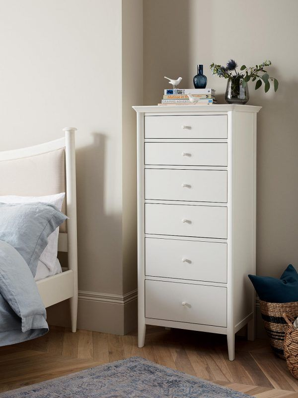White painted 6-drawer chest