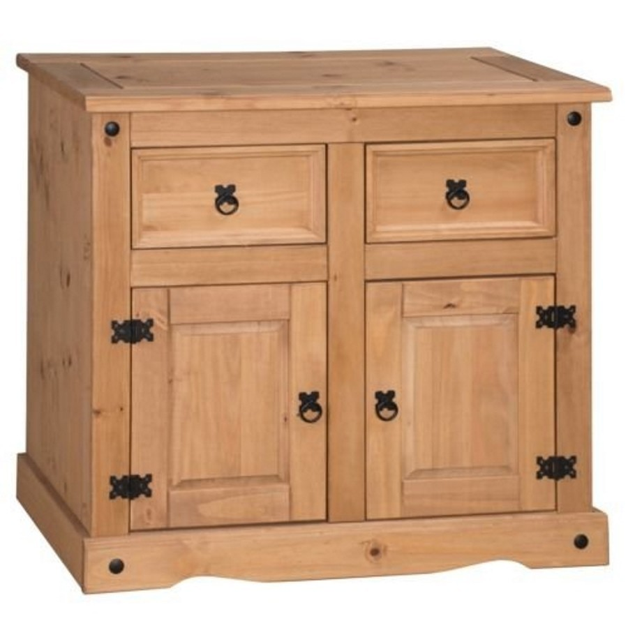 Pine sideboard unit with 2 doors and 2 drawers