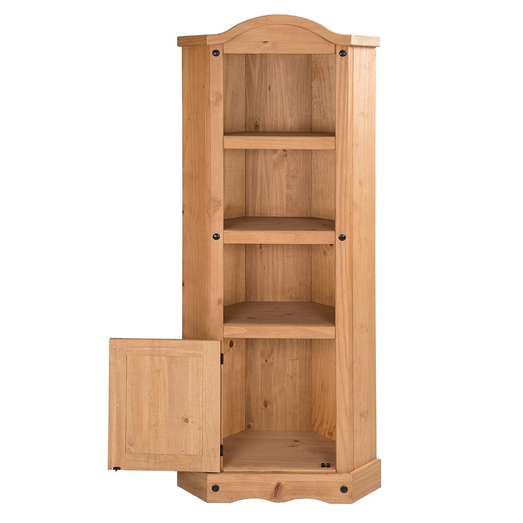 pine corner unit with cupboard and 3 shelve