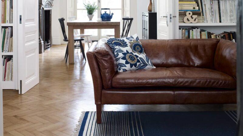 Antique-style leather sofa