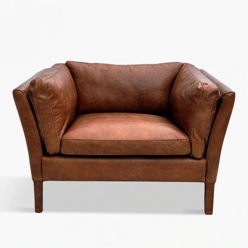 Antique Whisky colour leather armchair