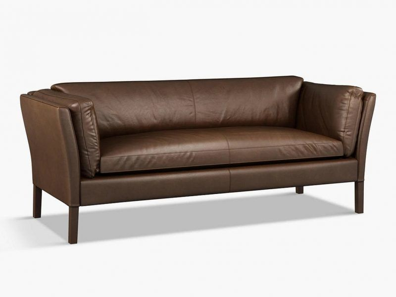 Large leather sofa - chocolate