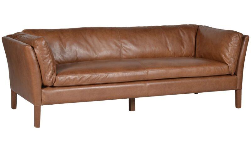 Wide 3-seater tan leather sofa