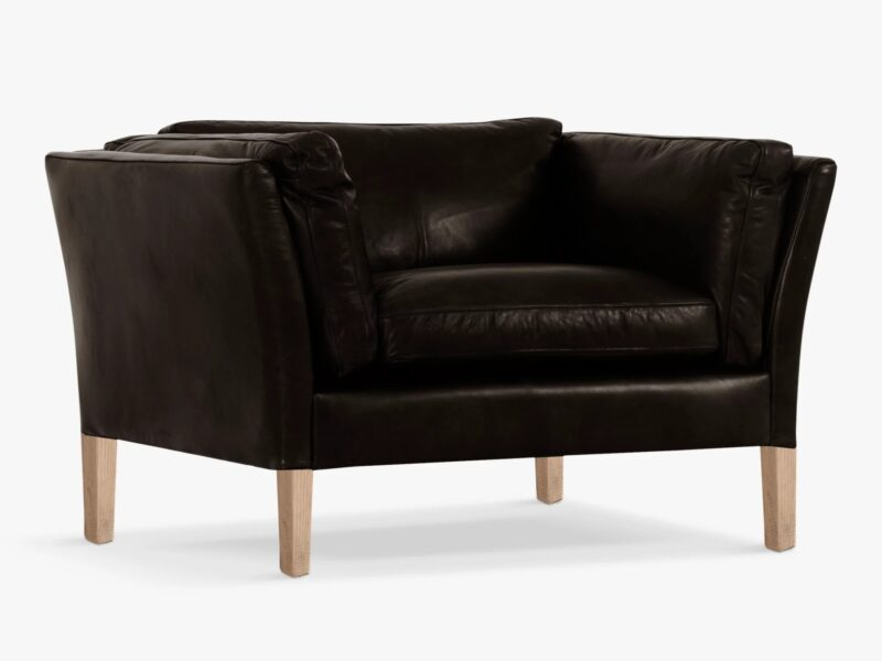 Black leather Groucho armchair