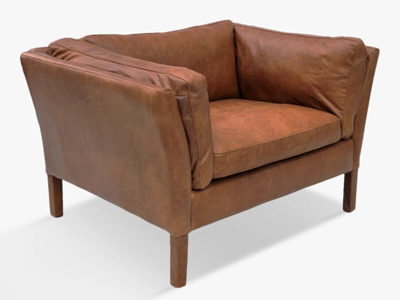 Tan leather Groucho armchair