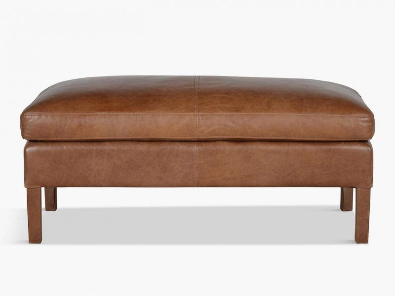 Tan leather wide footstool