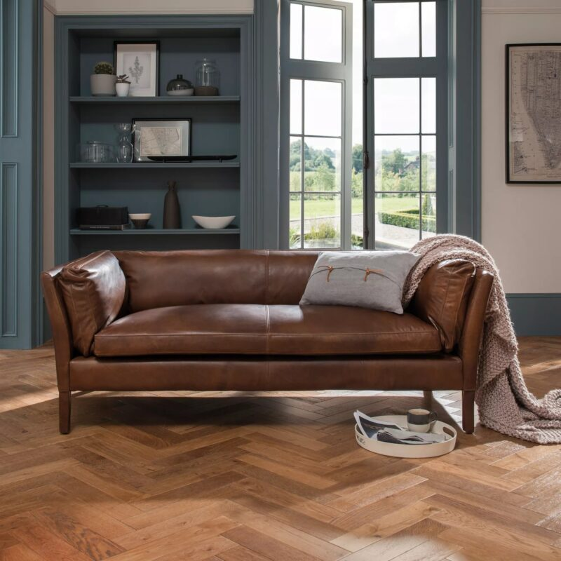 2-seater tan leather sofa