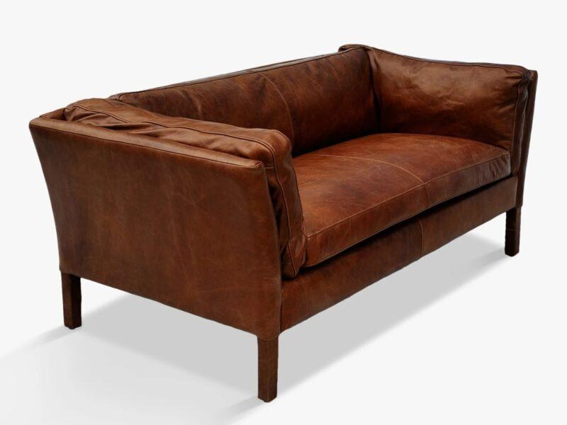 Antique leather 2-seater sofa