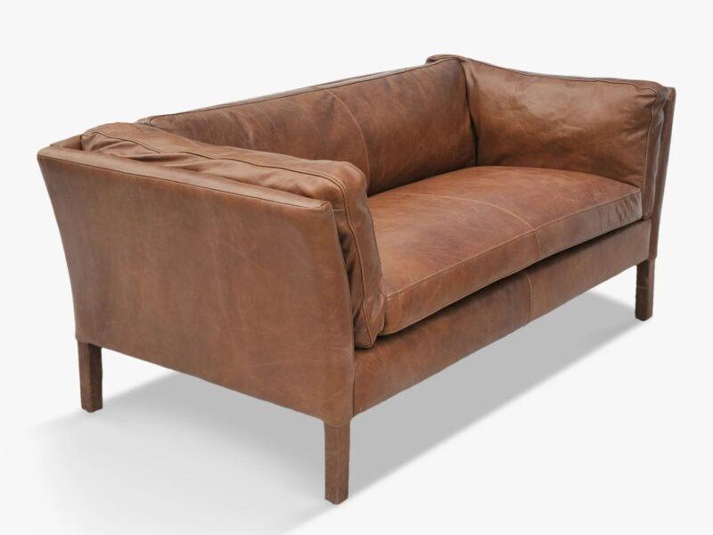 Nut coloured leather sofa