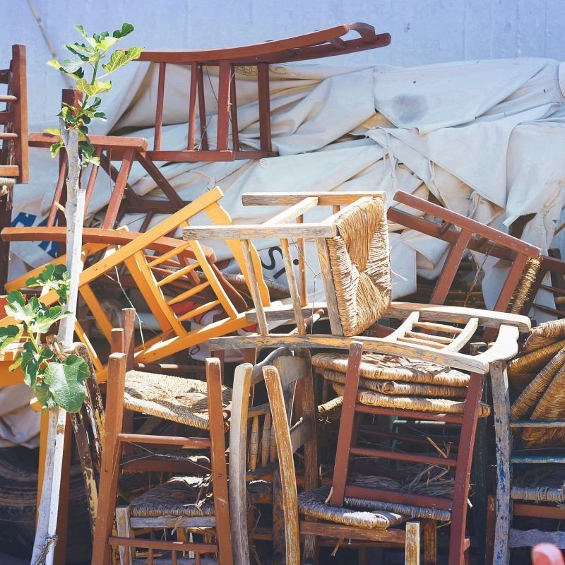Stacks of dumped chairs