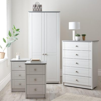 Grey wardrobe, 5 drawer chest and pair of bedside chests
