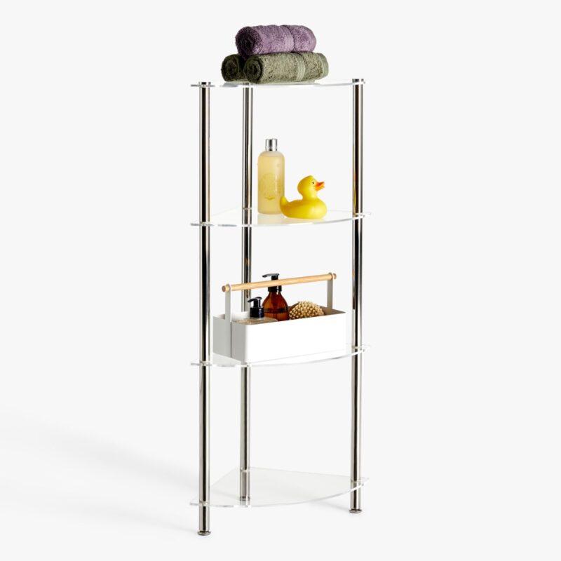 4-tier corner unit with glass shelves