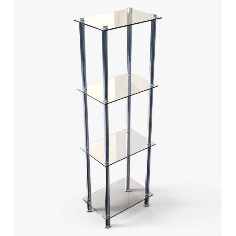 4-tier chrome and glass shelf unit