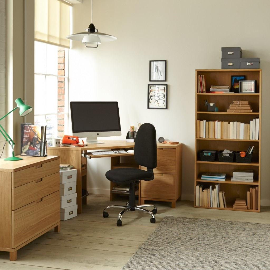 Light oak coloured office furniture