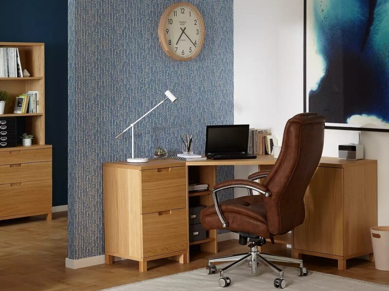 Home office desk, bookcase and chair
