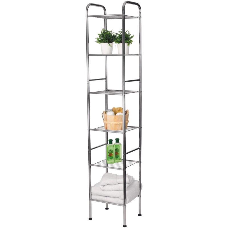 Tall 6-tier chrome shelving