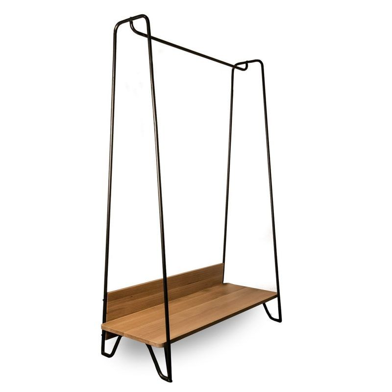 Metal frame hanging rail with large wooden shelf