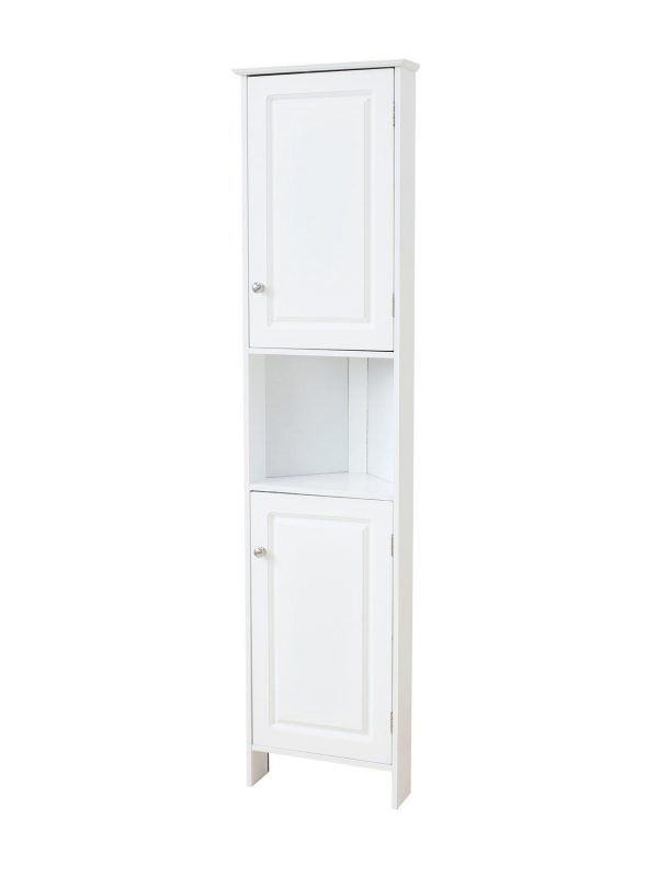 White-painted bathroom corner cabinet