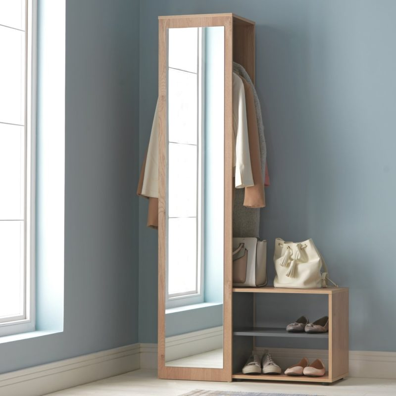 Halwway unit with mirror and shoe rack
