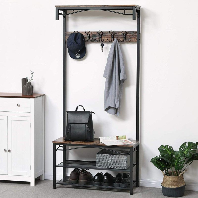 Hall stand with shoe rack and bench