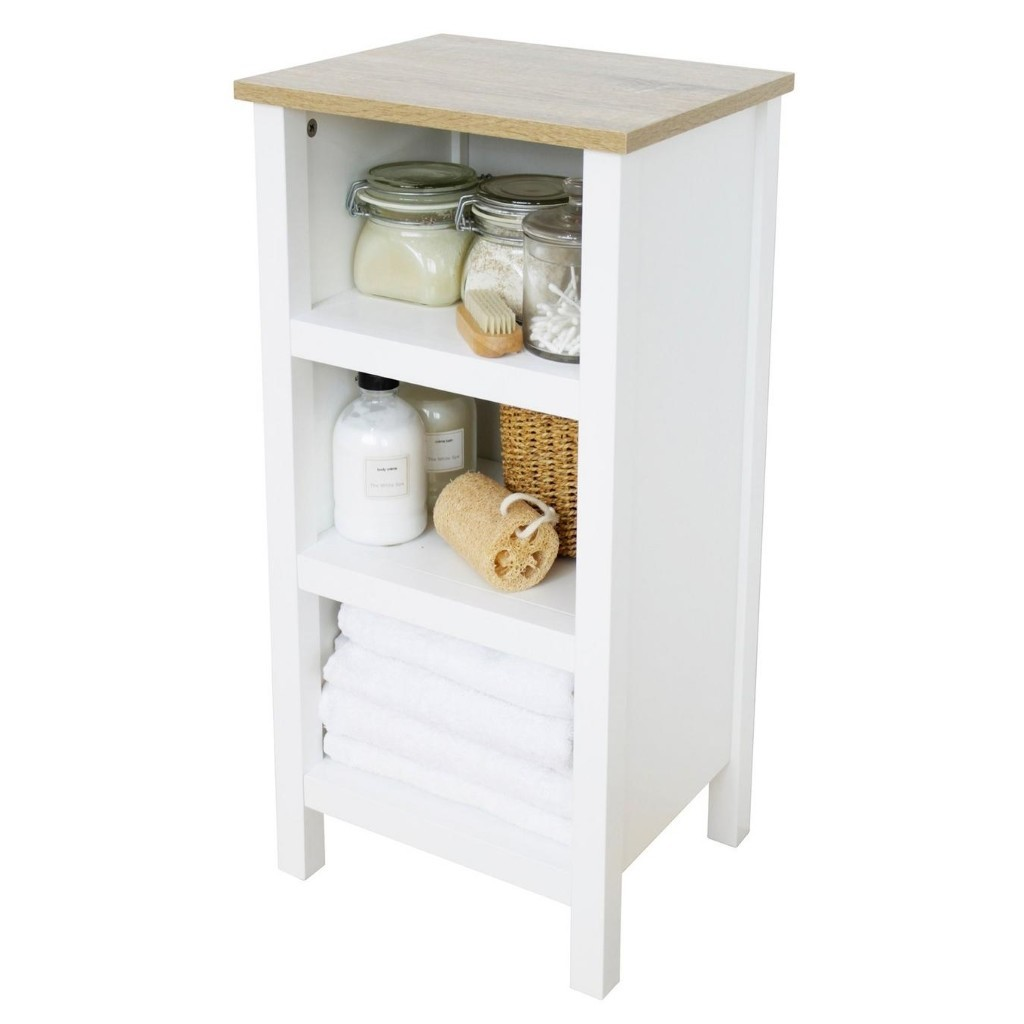 White painted shelving unit with oak top