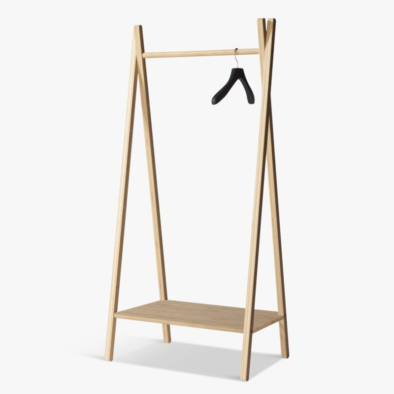 Bamboo clothes rail with shelf