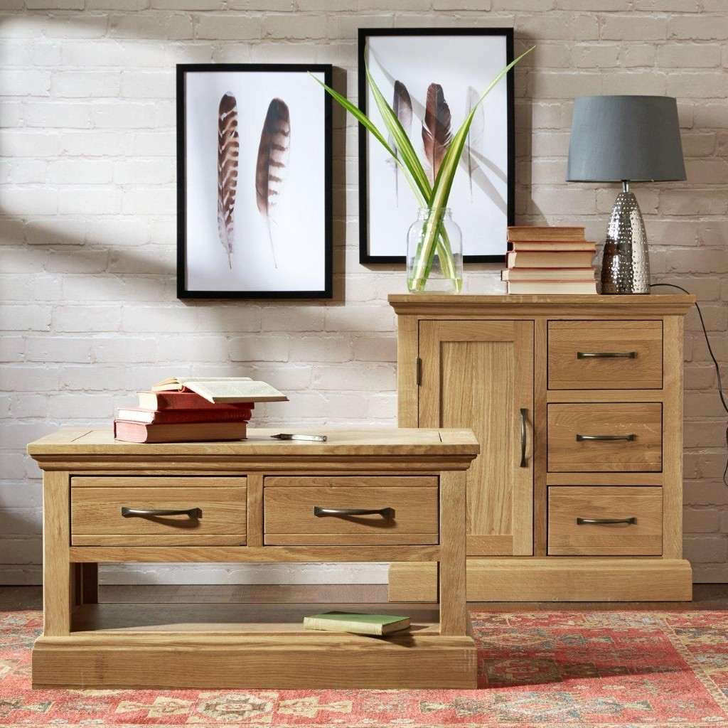 Oak coffee table and sideboard