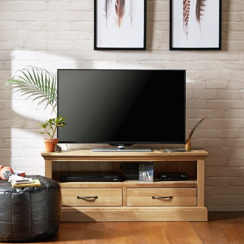 Oak TV Unit with 2 Drawers