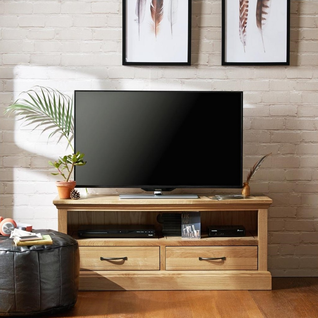 Oak Tv Unit with two drawers