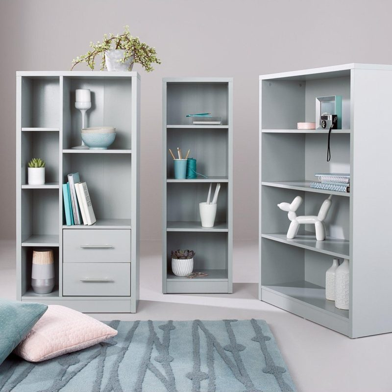 Grey 3-piece bookcase set