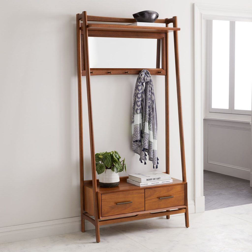 Retro-style hall stand with mirror and drawers