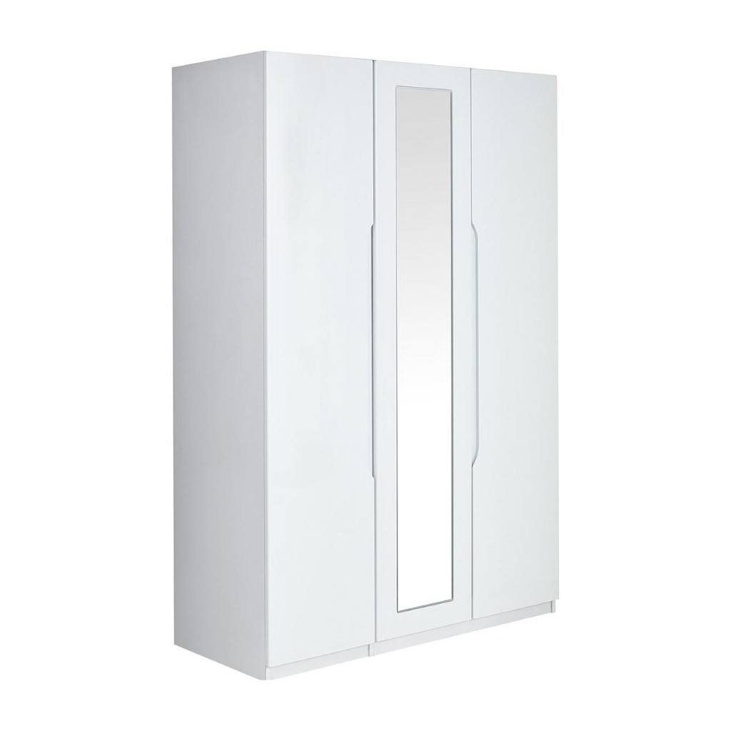 White gloss 3 door wardrobe