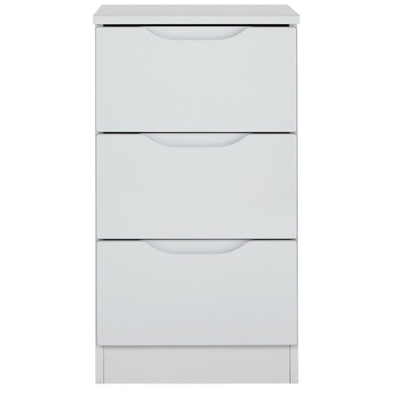 3-drawer gloss bedside chest