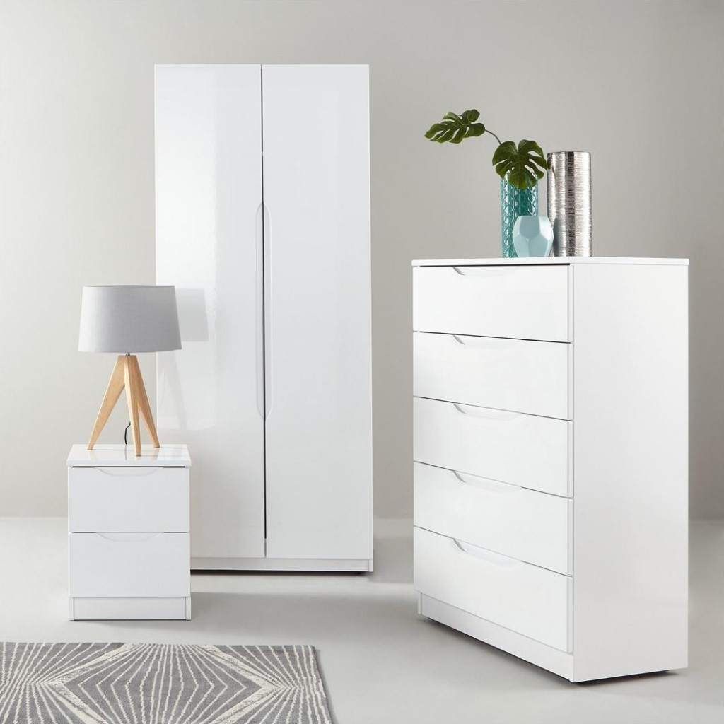 Contemporary bedroom furniture with a white gloss finish