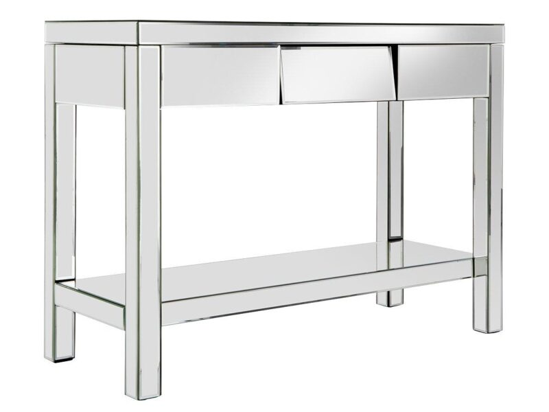 Mirrored console table with shelf and single drawer