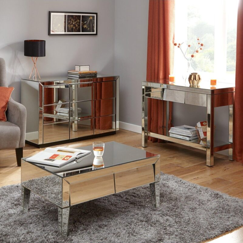 Coffee table, sideboard and console table with a mirrored finish