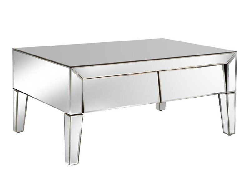 Mirror finish coffee table with 2 drawers