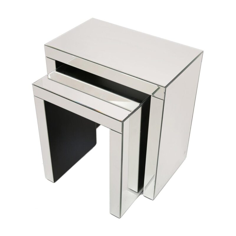 Pair of side tables with a mirror finish