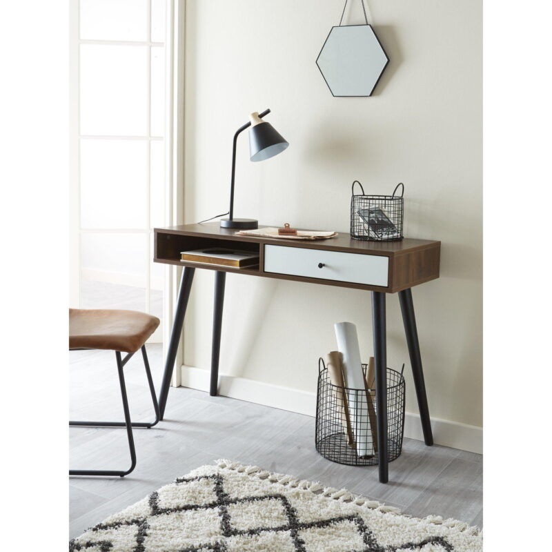 Walnut finish desk with contrasting white drawer