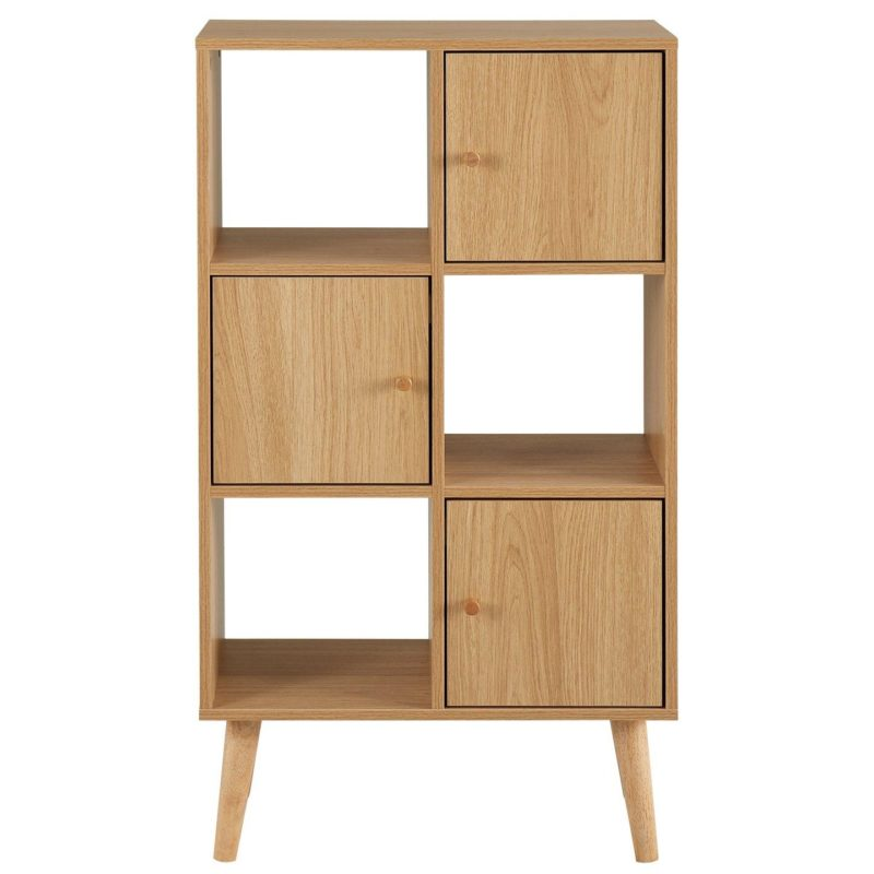 Oak storage unit with 3 open shelves and 3 cupboards