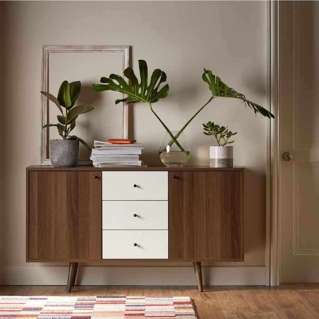 Retro style sideboard in walnut with white drawer fronts