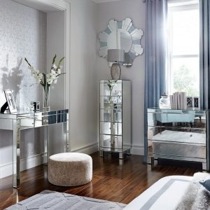 Bedroom furniture with a mirror finish