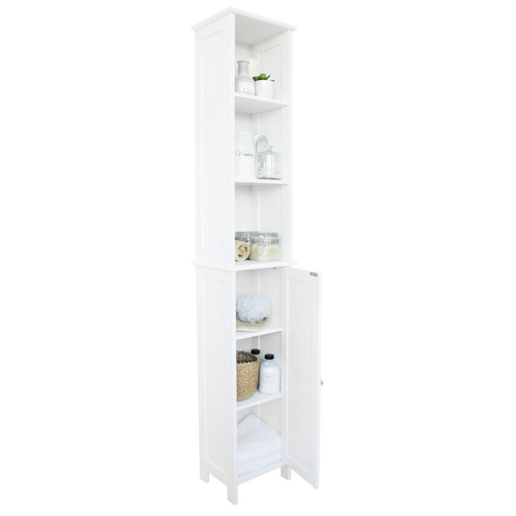 Tall white unit with 6 shelves