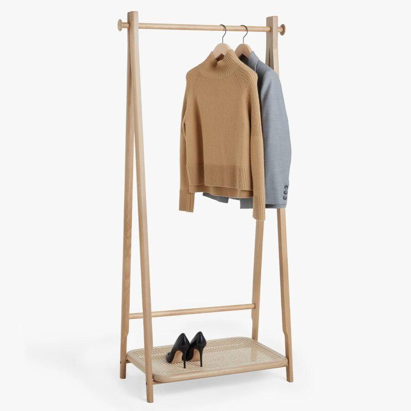 Oak clothes rail with rattan shelf