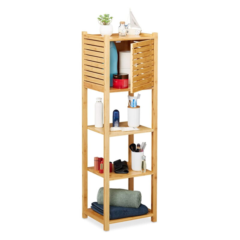 Bamboo shelving unit with cupboard on top
