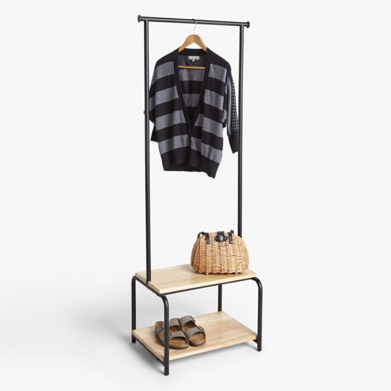 Black metal clothes rail with bench and shoe rack