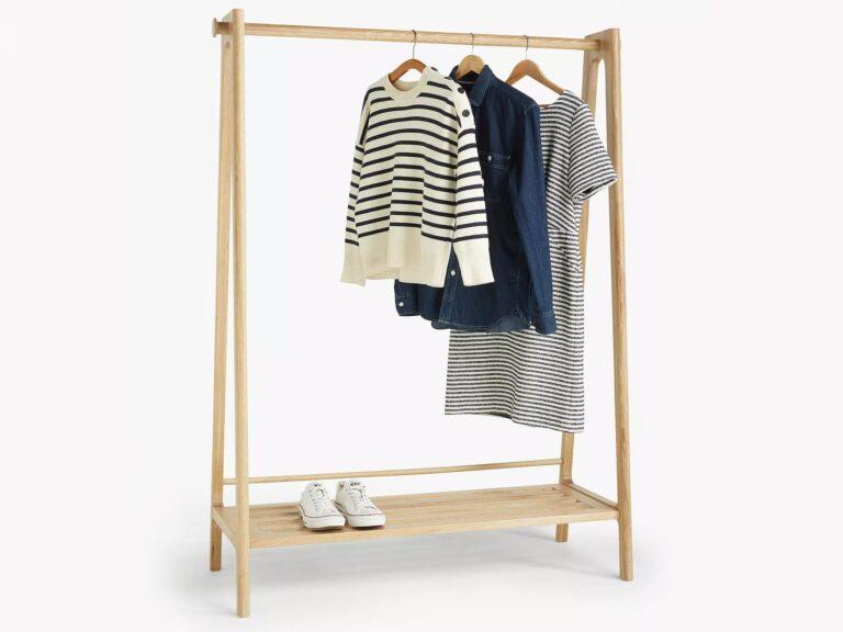 Oak clothes rail with shelf